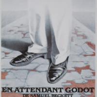Carte postale de l'affiche pour En attendant Godot, de Samuel Beckett - Théâtre de la Planchette, F-Villeneuve d'Ascq 1983 / Jacques Richez