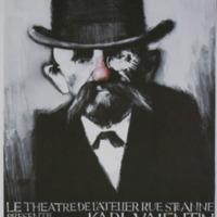 Carte postale de l'affiche pour Karl Valentin - Théâtre de l'Atelier Rue Sainte-Anne, B-Bruxelles 1978 / Jacques Richez