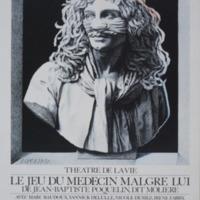 Carte postale de l'affiche pour Le Jeu du Médecin malgré lui, de Molière - Théâtre de la vie, B-Bruxelles 1984 / Jacques Richez